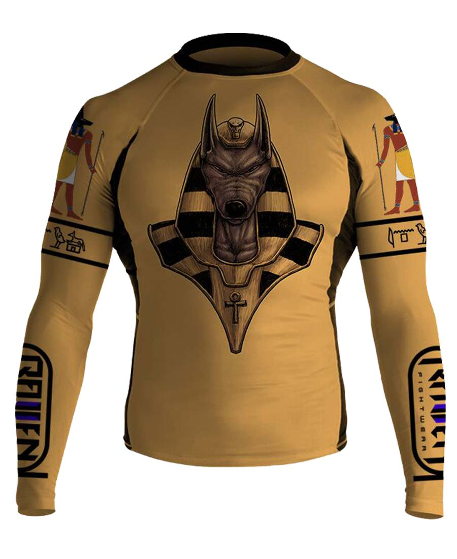 Raven Fightwear Men/'s Anubis MMA BJJ Long Sleeve Rash Guard
